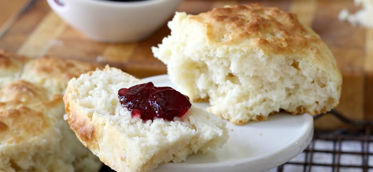 Buttermilk biscuits w/ bourbon strawberry jam